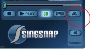SingSnap Player Controls with the A button circled in red